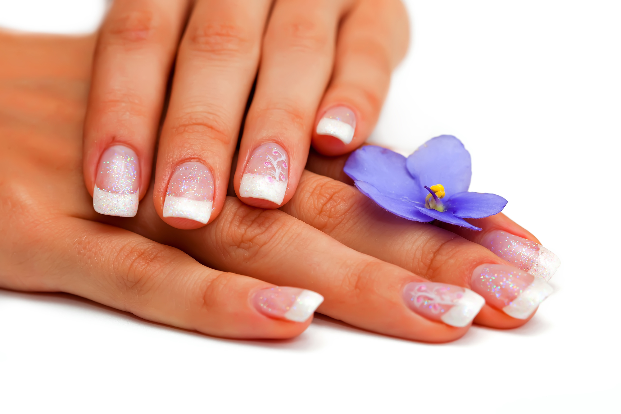 Polygel french manicure hand